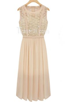 Elegant Long Sleeveless Chiffon Maxi Dress