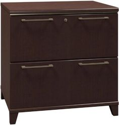 Bush Furniture 2 Drawer Lateral File by Bush. $297.00. File Cabinets Bush Enterprise Collection features commercial grade construction with contemporary styling. Two drawer file accommodates letter or legal size files. Only top drawer locks. Features full extension drawers with ball bearing slides. Choose from Harvest Cherry or Mocha Cherry melamine finish. Ships fully assembled. Meets ANSI / BIFMA safety standards.