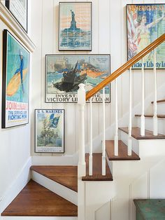 Change Out Stair Treads. Could do this in upstairs hallway above table and use pictures from places we've visited, NYC,  Statue of Liberty, Niagra Falls, D.C., Disney World the beaches, etc.