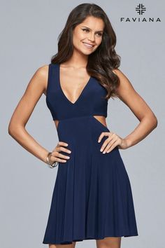 fe9054d4aea0 Front image of Navy short jersey v-neck dress with side cutouts and full  skirt