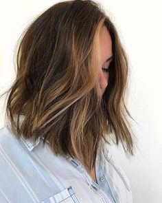 Brunette Long Bob (Lob) Haircut Idea + Soft, Brown Highlights