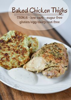 These baked chicken thighs are budget friendly, THM:S, low carb, sugar free, and gluten/dairy/egg/nut free.