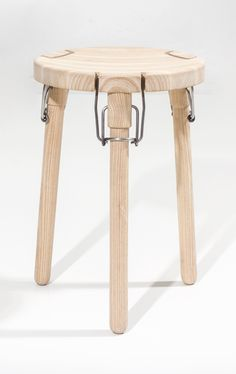 In this project, I worked with collapsibility as a premise. I was investigating different types of hinges and considered the latch hinge to be an easy attachable, durable and familiar fixture, that on the same time gives the stool an industrial expressive attitude. The latch hinge is commonly known from jars and bottles and is …