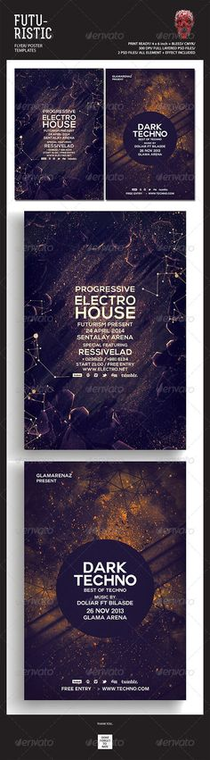 """Futuristic Flyer Templates #GraphicRiver Featured Flyers Flyer Artwork """"Dark Techno"""" This flyer was designed to promote an Electro / Dubstep / Dance / Drum and Bass / Techno / House music event, such as a gig, concert, festival, dj set, party or weekly event in a music club and other kind of special evenings. This flyer can also be used for a new album promotion or other advertising purposes. Detail : 2 Psd files 4×6 with 0.25 inch bleed area 300 dpi/CMYK Organized layers Print ready Font:"""