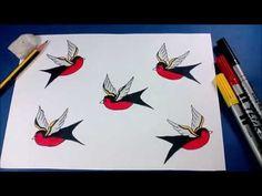 Como desenhar pássaros - tattoo