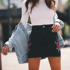 Rose Embroidered Denim Skirt.
