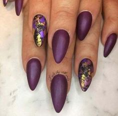 Trendy Matte and Foil Nail Art for Matte Nail Designs for Fall - Red Unicorn Burgundy Nails, Purple Nails, Matte Nails, My Nails, Burgundy Nail Designs, Shellac Nails, Foil Nail Art, Foil Nails, Garra