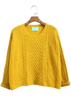 Yellow Batwing Long Sleeve Cable Knit Sweater 20.90