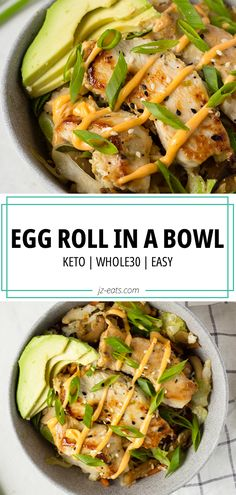An easy to make Whole30 Egg Roll In A Bowl made with sesame ginger lime chicken is a healthy yet delicious low-carb dish, and ready in 30 minutes! #whole30recipes #ketorecipes #eggroll #eggrollinabowl #whole30 Top Recipes, Asian Recipes, Healthy Recipes, Meatless Whole 30 Recipes, Delicious Recipes, Sweets Recipes, Healthy Dinners, Summer Recipes, Drink Recipes