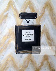Chanel Art Perfume Painting Chanel No. 5 Black by TracyHallArt