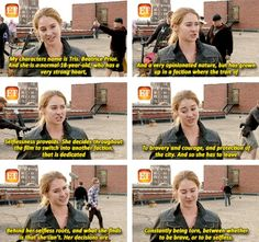 Shailene on the set of Divergent. They changed her age from 16 in the book to 18 in the movie.