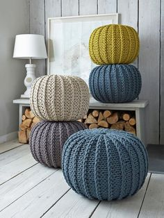 Super soft poufs made of knitted ribbon yarn. Cozy poufs for the interior. Soft furniture Super soft poufs made of knitted ribbon yarn. Cozy poufs for the interior. Knitted Poufs - Nordic House Knitted Poufs, great feature for a living room and pratical - Fall Home Decor, Autumn Home, Pouf En Crochet, Crochet Pattern, Knitted Pouffe Pattern, Crochet Pillow, Free Pattern, Diy Inspiration, Ribbon Yarn