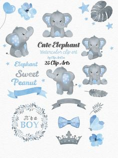 This item is made of png, digital files and is available in primary color : blue, secondary color : gray, occasion : baby shower. Baby Shower Niño, Baby Shower Parties, Baby Shower Themes, Baby Shower Decorations, Shower Centerpieces, Elephant Theme, Cute Elephant, Elephant Birthday, Elephant Baby Boy