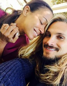 Pin for Later: Zoe Saldana and Marco Perego Are So Cute Together, It Actually Hurts Marco snapped a selfie of the couple on Zoe's first Mother's Day in May Mixed Couples, Cute Couples, Zoe Saldana Husband, Snap Selfie, Interacial Couples, Black Woman White Man, Post Baby Body, Interracial Love, First Mothers Day