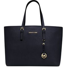 Michael Michael Kors Jet Set Medium Multi Function Travel Tote ($223) ❤ liked on Polyvore featuring bags, handbags, tote bags, purses, navy, leather tote, michael kors tote bag, navy blue leather handbags, leather tote bags and travel purse