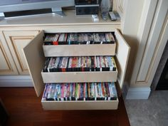 Love this idea for DVD storage!  The double-height Glide-Out
