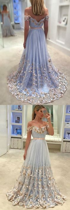 baby blue prom party dresses with appliques, fashion off shoulder evening gowns, formal party dresses.