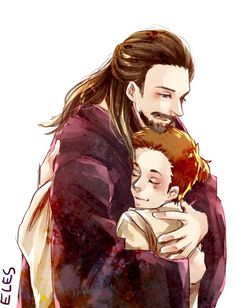 Qui-Gon and little Obi-Wan, like father and son