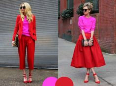 look rosa e vermelho