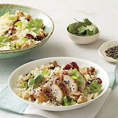 Couscous Salad with Chicken, Dates, and Walnuts | CookingLight.com #myplate #protein