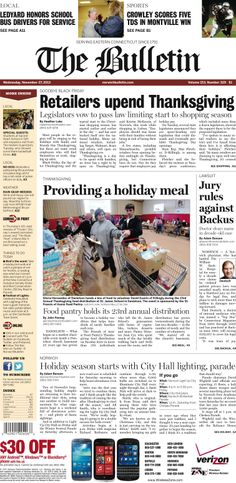 Wednesday, November 27, 2013 - Subscribe to The Bulletin today: http://www.norwichbulletin.com/subscribenow #ctnews #newlondoncounty #windhamcounty