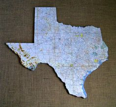 TEXAS Vintage State Map Wall Art (Large size)