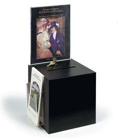 "Black Raffle Ballot Box w/ Lock 8.5"" x 11"" Sign Display Frame & Tri Fold Holder  #UnbrandedGeneric"