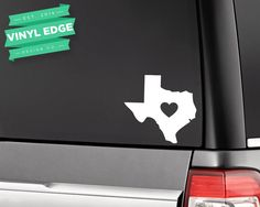 Texas Heart Car Decal - TX Love Heart State Car Decal - State Vinyl car window bumper decal - Choose your own colors! [CWD0006] by VinylEdgeDesign on Etsy https://www.etsy.com/listing/255783082/texas-heart-car-decal-tx-love-heart