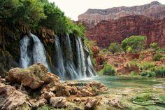 New Navajo Falls in Havasupai - We waded in the refreshingly cool water. Havasupai Waterfalls, Arizona Waterfalls, Colorado River, Open Spaces, Best Artist, Beautiful Places, Scenery, Bucket, Places