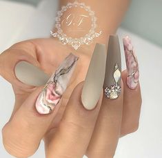 Glamorous Acrylic Matte And Stiletto Nails Design - Hairstyles Marble Nail Designs, Marble Nail Art, Acrylic Nail Designs, Nail Art Designs, Nails Design, Pink Marble, Unique Nail Designs, Dope Nails, Glam Nails