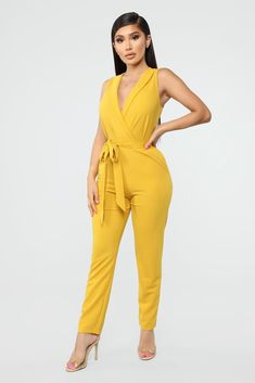 Stacy Sleeveless Jumpsuit - Mustard Available In Black, Blush, Red, And Mustard Solid Jumpsuit Back Zipper Collared 2 Pockets Stretch Polyester Spandex Yellow Jumpsuit, Fashion Nova Models, White Fashion, Cut And Style, Catsuit, Designing Women, Clothes For Women, Shorts, Stylish