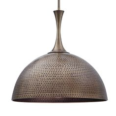 Global Direct Antique Brass Transitional Dome Pendant Light at Lowe's. Eclectic best describes this wide hammered metal 1 Lt. It features an rich antique brass finish. With watt max Edison socket and Contemporary Pendant Lights, Modern Pendant Light, Lighting Sale, Pendant Lighting, Ceiling Light Fixtures, Ceiling Lights, Antique Brass Chandelier, Painted Fox Home, Bronze