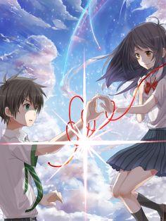 Your Name- Mitsuha and Taki Anime Love, Sad Anime, Kawaii Anime, Manga Anime, Kimi No Na Wa, Anime Couples Drawings, Cute Anime Couples, Mitsuha And Taki, Mashiro Shiina