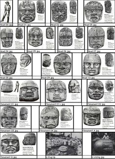 Olmec Heads - scans of the 17 Olmec heads discovered so far; from Micah Wright's website. Colossal ancient Olmec head from San Lorenzo, Tenochtitlan, Mexico. c.1500 BC. Gulf coast of Mexico, there were about 20 discovered together. They are ruler portraits that have individual characteristics. Jaguar paws - everything resides in their heads - power. Fit into ritual and power structure.