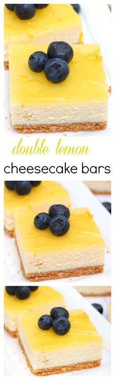 Smooth, creamy and full of citrus flavor, these lemon cheesecake bars are topped with a thin layer of lemon glaze and prepared on a simple graham cracker crust(Bake Cheesecake Bars) Lemon Desserts, Lemon Recipes, Just Desserts, Delicious Desserts, Lemon Cakes, Summer Desserts, Sweet Recipes, Lemon Cheesecake Bars, Cheesecake Recipes