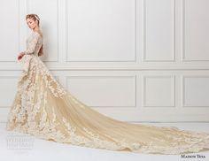 maison yeya 2017 bridal three quarter sleeves illusion jewel off the shoulder full embellishment peplum ivory elegant glamourous lace a line wedding dress full lace back royal train (1) sdv