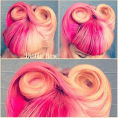 Half pink vintage rockabilly dyed hairstyle. ooh, this as a short asymmetrical pixie-thing.
