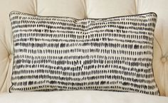 Art literally meets fabric with this pillow cover. Here is the fabric story behind the USA printed fabric: The dash design started out as a mark-making experiment in Rebecca's sketchbook – she loved the shape the paintbrush made and the slight variations that occurred. This colorway is printed with ink.  *Front Fabric: Rebecca Atwood Fabric. Black and Natural fabric, Dashes *Back Fabric: Flax or Black Linen Fabric (Size shown is the 12 x 20 with black piping)  *This listing is for One Pillow…
