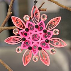 Christmas Pink Quilling Snowflake