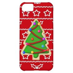 Red with white stars and Christmas tree cookie iPhone 5 case. #christmasiphone5cases