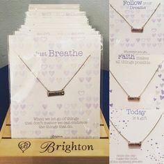 An Encouraging Gift!  Brighton Notetags Necklaces- $42 Choose from: Love Faith Carpe Diem A New Day Dream Smile Breathe  #madisonsbluebrick #downtownhotsprings #brighton #necklace #notetags #gifting #christmasshopping #stockingstuffers