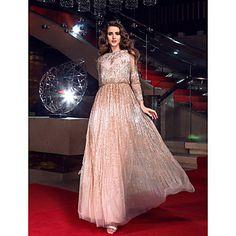 Mantel / Spalte bateau bodenlangen Tüll Pailletten-Abendkleid inspiriert von angelina jolie - EUR € 143.96