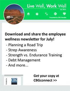 Employee Wellness Newsletter for July 2014: Fitness Training, Strep Awareness, Debt Management, and More