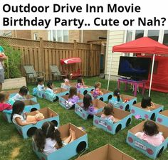 A nice party doesn& have to be expensive! The most beautiful decorations for a children& party. Nice for a baby shower too! (Party for the expectant mother). - A nice party doesn& have to be expensive! The most beautiful decorations for a children& - Backyard Movie Nights, Outdoor Movie Nights, Outdoor Movie Party, Outdoor Parties, Backyard Movie Party, Camping Parties, Summer Parties, Yard Party, Rainbow Parties