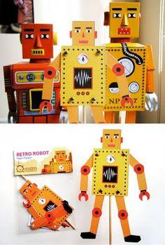 Retro Robot Paper Puppets  https://www.facebook.com/cactusworks