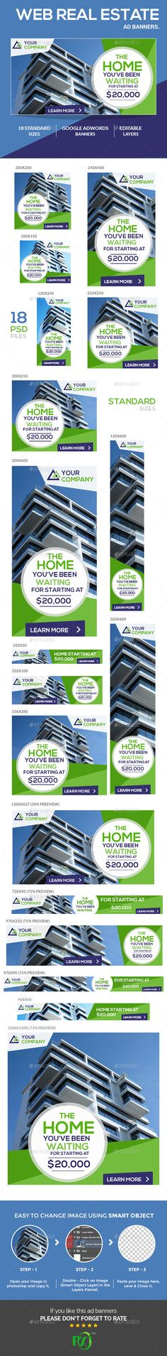 Web Real Estate Ad Banners. — Photoshop PSD #adword #sales • Available here → https://graphicriver.net/item/web-real-estate-ad-banners/16440338?ref=pxcr