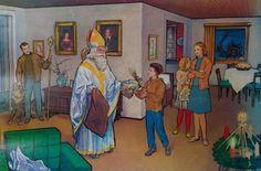 Antiek schoolplaat : Sinterklaas beloont, Uitgegeven door Quirin Haslinger