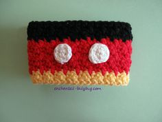 Free crochet Mickey Mouse coffee cup cozy pattern. Inspired by Disney's Mickey Mouse. Free crochet pattern download. PDF file.