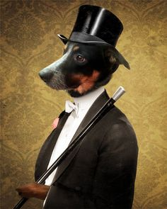 Dog Portrait Top and Cane by TheLonelyPixel. Anthropomorphic dog art.