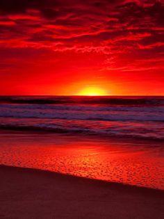 Ocean and Sunset nature sunrise sunset. Amazing Sunsets, Amazing Nature, Red Sunset, Sunset Beach, Beach Sunsets, Sunset Pics, Red Beach, Sunrise And Sunset, Nature Photography